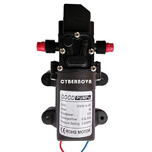 CYBERNOVA DC12V 131 PSI 6L / m Pompa autoadescante a membrana ad alta pressione ad acqua Caravan / Barca / RV / giardino (6L / m)