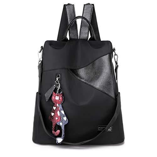 EVAEVA-bags Damen Rucksack Schulter Ausflug Rucksäcke Elegant PU Leder Schultasche Freizeitrucksack Kleiner Rucksack Mädchen für Frauen (Schwarz) (Kleines Mädchen Zigeuner Kostüm)