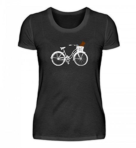 Hochwertiges Damenshirt - Hund im Korb mit Holland-Fahrrad Rad on Tour - Du magst Rad Fahren mit Deinem Hündchen?