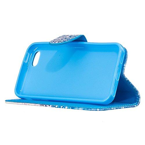 iPhone 5C Hülle,iPhone 5C Ledertasche Handyhülle Brieftasche im BookStyle,SainCat Retro 3D Muster Marmor PU Leder Hülle Wallet Case Folio Schutzhülle Scratch Bumper Handytasche Backcover Handy Tasche  Blue Sand
