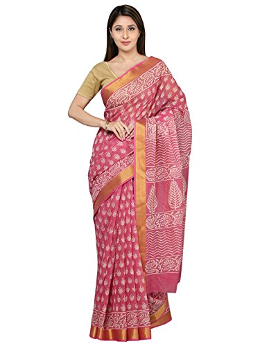 Kalakari India-Finest Quality Cotton-Handmade, Pink colored, White Booti, Golden Zari-Sanganeri Block Print...