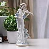 GiiWii Elegante Dame Spielen Violine Figurine, Kleine Statue Keramik Statuette Mini Ornament Modern Creative Collectibles Art Deco Für Home Wohnzimmer Schlafzimmer Mädchen Jungen Geburtstag Geschenke