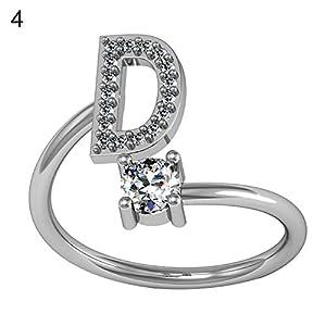 YSoutstripdu 1Englisches Alphabet Buchstabe Strassstein Frauen Verstellbare Öffnung Ring Decor