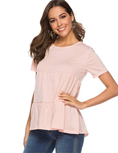 Rüschen Bluse T-shirt Top (Avacoo Damen Kurzarm T Shirt Rüsche Rundhals Sommer Tops Tunika Baumwolle Bluse Rosa S)