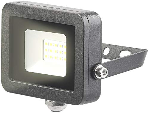 Luminea LED Flutlicht: Wetterfester Mini-LED-Fluter, 10 W, 800 lm, IP65, 3.000 K, warmweiß (Wasserfeste LED Fluter warmweiß)