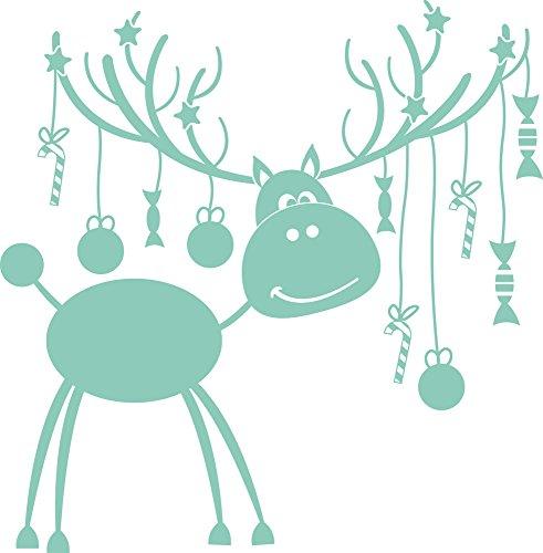 GRAZDesign Fensterbilder Weihnachten - Fensteraufkleber Weihnachten Elch - Weihnachtsdeko Wandtattoo Sterne - Wandtattoo Schnee / 58x57cm / 055 mint / 830009_57_055 -