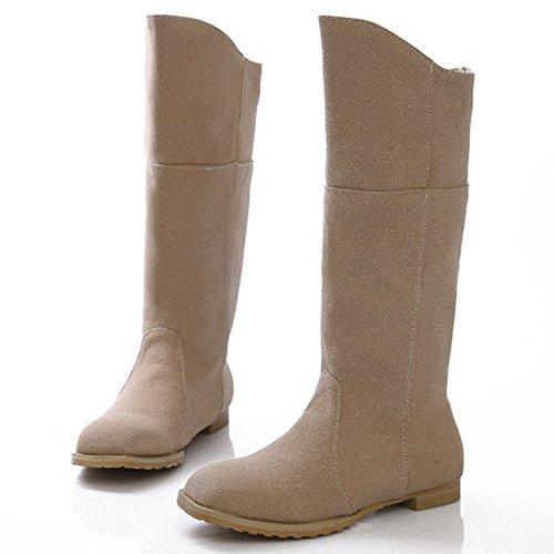COOLCEPT Damen koreanischen Stil Wildleder flache Schuhe Mitte der Wade Ritter Stiefel Beige