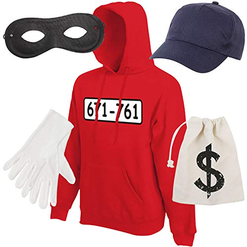 Shirt-Panda Herren Hoodie Panzerknacker Kostüm + Cap + Maske + Handschuhe Verkleidung Karneval SET06 Hoodie/Cap/Maske/Handschuhe/Beutel ()