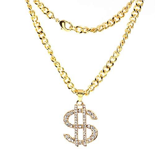 Strass Dollar Geld Anhänger Legierung Lange Halsketten-Zeichen für Hip Hop Frauen Männer ()