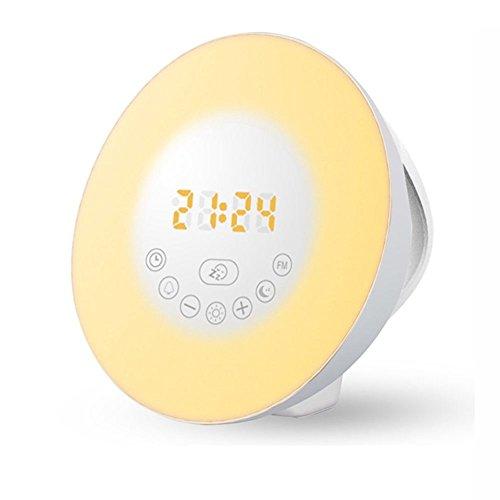 Preisvergleich Produktbild Lichtwecker ,  SIEGES Wecker Wake Up Light Sonnenaufgang Simulator Wecker mit Bluetooth 4.0 Lautsprecher ,  FM Radio AUX Nature Sounds Touch Control 7 Farben beleuch