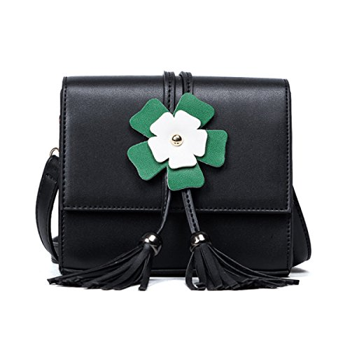 QPALZM QPALZM Weibliche 2017 Troddel Kleine Quadratische Tasche Schultertasche Frau Mode Freizeit Handtasche Black