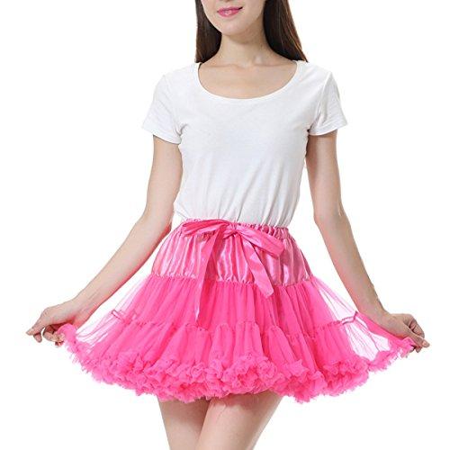 Comall Mädchen Kurz Tutu Petticoat Unterrock Unterkleid Tüll Rock Ballett Tanzrock Tutu Ball Kleid Fuchsia (Organza Mädchen Fuchsia Tutu)