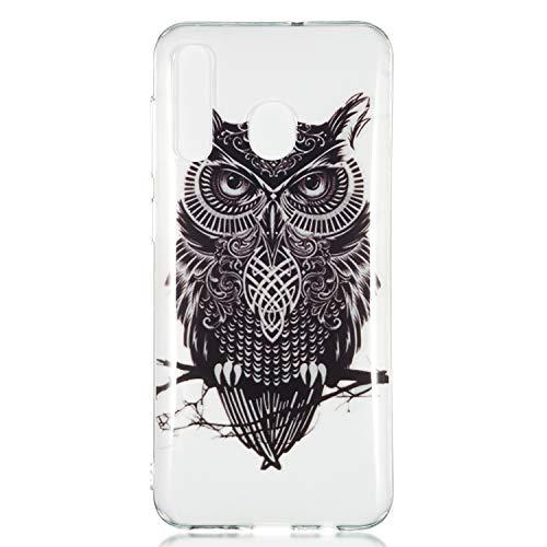 Kreative Transparent Durchsichtige Kristal Klar Clear für Samsung A50 (Hat Owl Männer)
