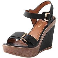 Plataforma para Mujer De Verano Sandalias De TacóN con CuñA Alta Correa De Tobillo Zapatos CóModos Peep Toe