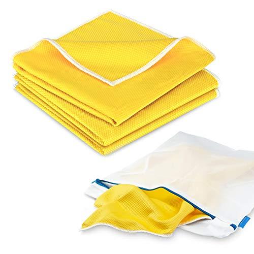 POLYCLEAN 3x Koi-Tuch für Glas, Scheiben und Edelstahl - leistungsstarkes Fenstertuch (40 x 40 cm, gelb, 3 Stück) - Scheibentuch inklusive 1x gratis Wäschesack (38 x 30 cm) -