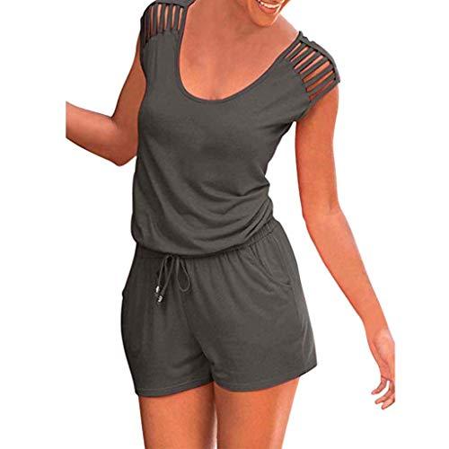 Damen Hohl Bandage Jumpsuit Yogogo Einfarbig V-Ausschnitt Overall Lose Kordelzug Playsuits Hose Sommer Bodycon Kurzer Strampler Bodysuit Sexy Sport Fitness Workout Slim Fit Leggins Dünne Sporthose -