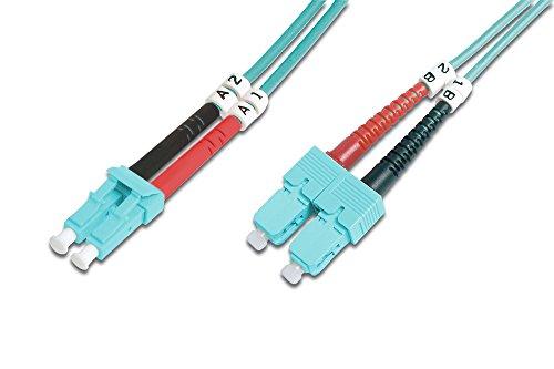 DIGITUS LWL Patch-Kabel OM3 - 1 m LC auf SC Glasfaser-Kabel - LSZH - Duplex Multimode 50/125µ - 10 GBit/s - Türkis -