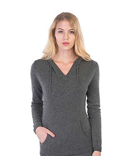 100% Kaschmir V-Ausschnitt Kordelzug Hoodie Pullover für Frauen - von CASHMERE 4 U (Medium, Gris Moyen (Dunkelgrau)) (Kleidung Hoodie Espresso)