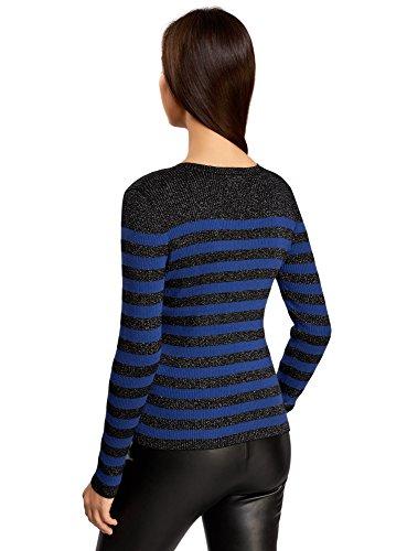oodji Ultra Damen Pullover Gestreift mit Lurex Schwarz (2975S)
