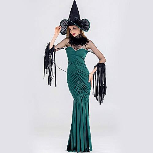 Dekoration Bandeau (BXW Grünes sexy Bandeau-Hexen-Leistungskostüm der Erwachsenen Dame, Kleid Plus Hut, alte Legende für Halloween-Dekoration,L)