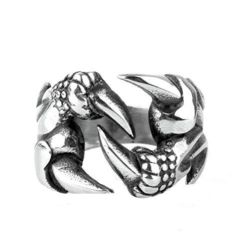 Beydodo Gothic Ring Silber 925 für Herren Drachenklaue Punk Silber Freundschaftsring Große 67 (21.3)