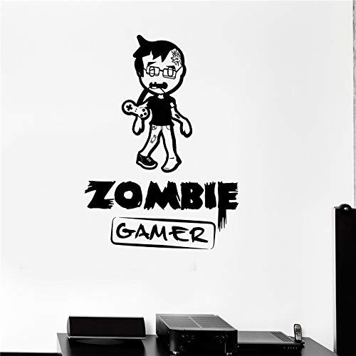 ljradj Mode Kinderzimmer Wandtattoo Zombies Gamer Video Game Play Boy Teen Zimmer Vinyl Aufkleber Wandtattoo Wohnkultur Rot 58 x 42 cm