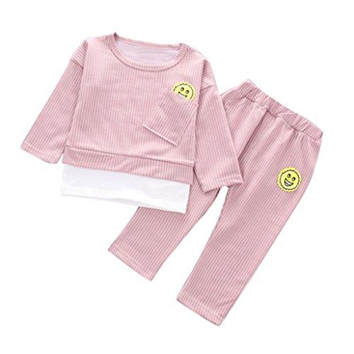 Babykleidung Jogginghose Hirolan Kleinkind Kinder Baby Jungen Mädchen Sport Outfits Streifen T-Shirt Tasche Tops Lange Hose 2pcs Herbst Freizeitkleidung (80cm, Rosa) (Herren-multi-streifen-polos)