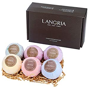 LANGRIA Bath Bombs Gift Set Pack of 6 Handmade Scented Natural Oil Spa Bomb Kit Ideal for Christmas & Birthday Present Women Mom Girls Kids(Gift of 6 Different Essential Oils)