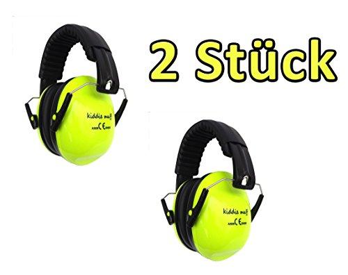 ☊ 2 PAAR Kiddie Muff® Kinder Ohrenschützer Gehörschutz für Kinder und Jugendliche Kapselgehörschutz 26dB Dämmwert in Neongelb ☊ thumbnail