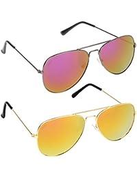 Criba Gradient Goggle Unisex Sunglasses - (red mer + gyl mer|40|White Color Lens)