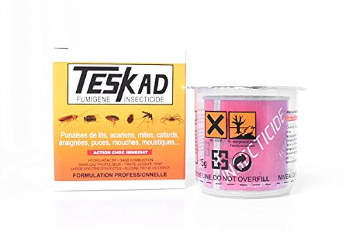 Fumigène insecticide Teskad anti puces, anti punaises de lit, anti cafards, anti mites, anti araignées, anti mouches, anti moucherons.
