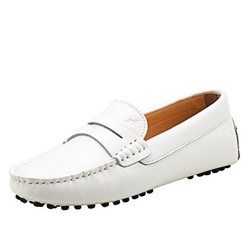Casual Schuhe (Shenduo Damen Driving Mokassin Leder Schuhe Casual Slipper Freizeit Sommer Schuhe D7052 Weiß 41)