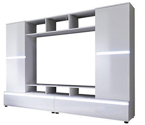 trendteam 1557-001-01 Mediawohnwand Glanz, Holz, weiß, 220 x 40 x 154 cm