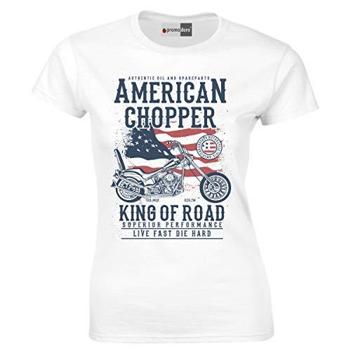 Hot-choppers (American Chopper Hot Rod Motocross Motor Racer Racing Bike Biker Motorrad Woman Damen T-Shirt (S, Weiß))