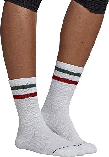 Urban Classics Herren 3-Tone College 2 Pack Socken, Mehrfarbig (White/Green/Red 01251), 43/46