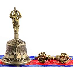 Figuras de Buda Campana 13cm de altura con ghanta y carcasa de brocado