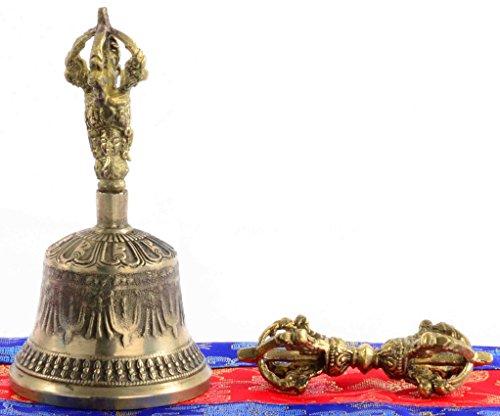BUDDHAFIGUREN Campana de oro budista auténtica - Ghanta - 13 cm de alto con la cubierta de la campana y dorje