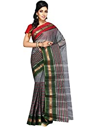 Madhushree Handloom Cotton Tant Saree, Traditional Bengali Wear (Grey & Green)