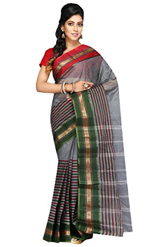 Badal Textile Handloom Cotton Tant Saree, Traditional Bengali Wear (Grey & Green)