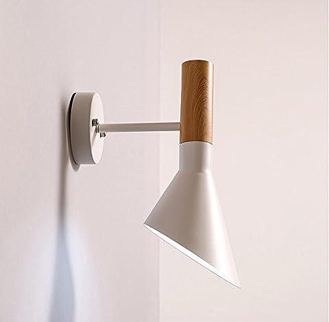 Loft Industrial Wind AJ Amerikanische kreative Persönlichkeit führte Schlafzimmer Nachttisch Wand Lampe Nordic Wohnzimmer moderne minimalistische Wand Lampe einstellbare Lampenhalter ( Farbe : Weiß )