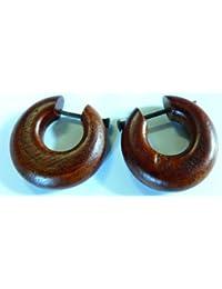 Pendientes/Pendientes de aro/Piercing de madera, Tribal/Tribal de estilo