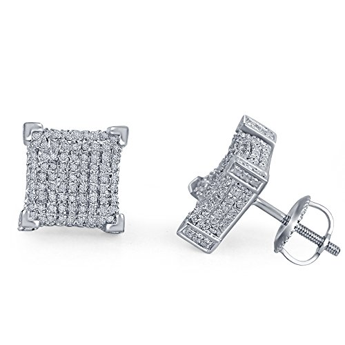 lilu Jewels Cube Carré à vis sur boucles d'oreilles clous en argent 925 en argent sterling diamant blanc naturel White Platinum Plated