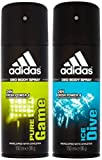 Adidas Pure Game & Ice Dive Deodorant Body Spray Combo (Pack of 2)