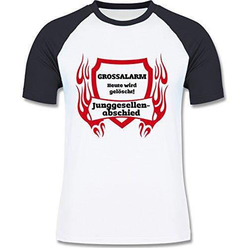 JGA Junggesellenabschied - Grossalarm - zweifarbiges Baseballshirt für Männer Weiß/Navy Blau