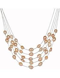 078e91f785ec XZZZBXL Collar de Mujer La joyería de Perla simulado Multicapa Collar  Gargantilla Boho Barroco de Moda para la Mujer Declaración Collares y…