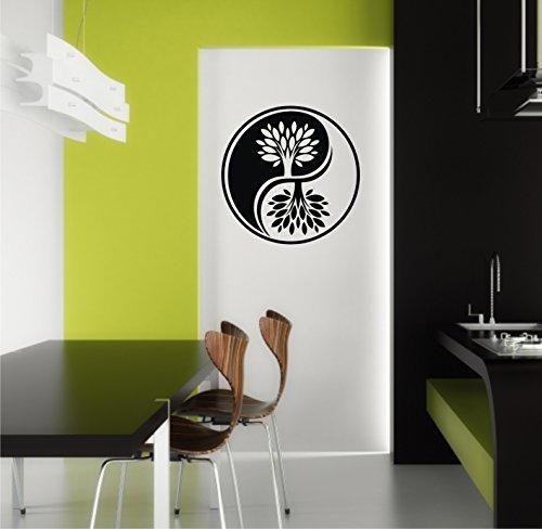 Wandtattoo Yin Yang Ying Baum Zeichen in 33 Farben matt oder glänzend Aufkleber Mandala Yoga Wandaufkleber 60cm