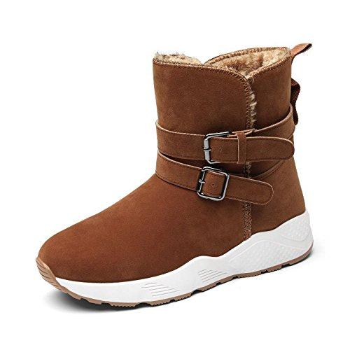 Les Chaussures Des Femmes, Bottes De Neige, L'europe Et Les États-unis Courts Paniers Épais Chauds Anti-dérapant Grande Taille Chaussures En Coton Marron