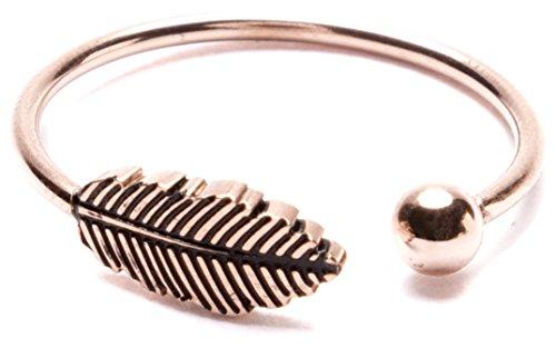 Happiness Boutique Damen Offener Ring mit Feder und Kugel in Roségold | Wrap Around Ring Edelstahlschmuck Minimalist Design