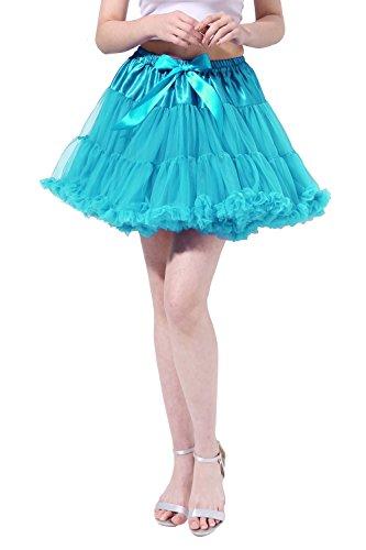 Poplarboy Damen Elastisch Puffy Tütü Röcke Petticoat Unterröcke Ballett Blase Ballkleid Bowknot...