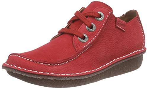 Clarks Funny Dream, Derby Femme, Bleu, Taille Unique Rouge (Red Nubuck)